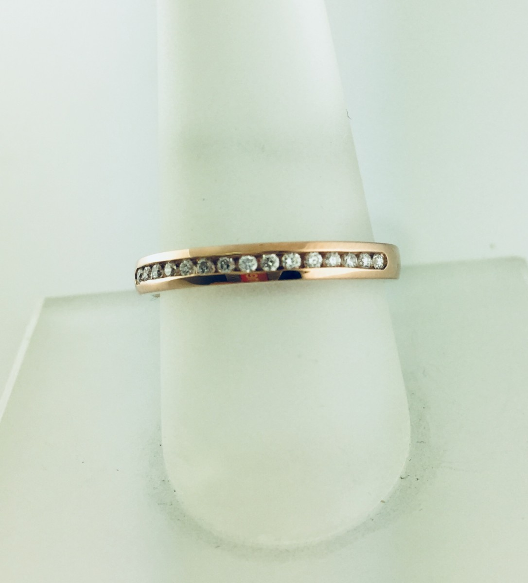 14K Rose Gold Channel Diamond Wedding Band