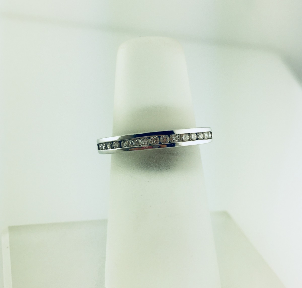 14K White Gold Channel Diamond Wedding Band