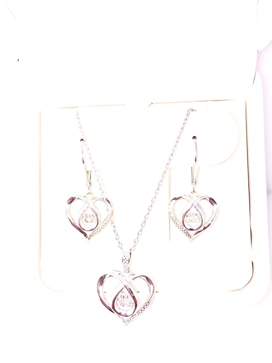 Shimmering Diamond Earring Pendant Necklace Set